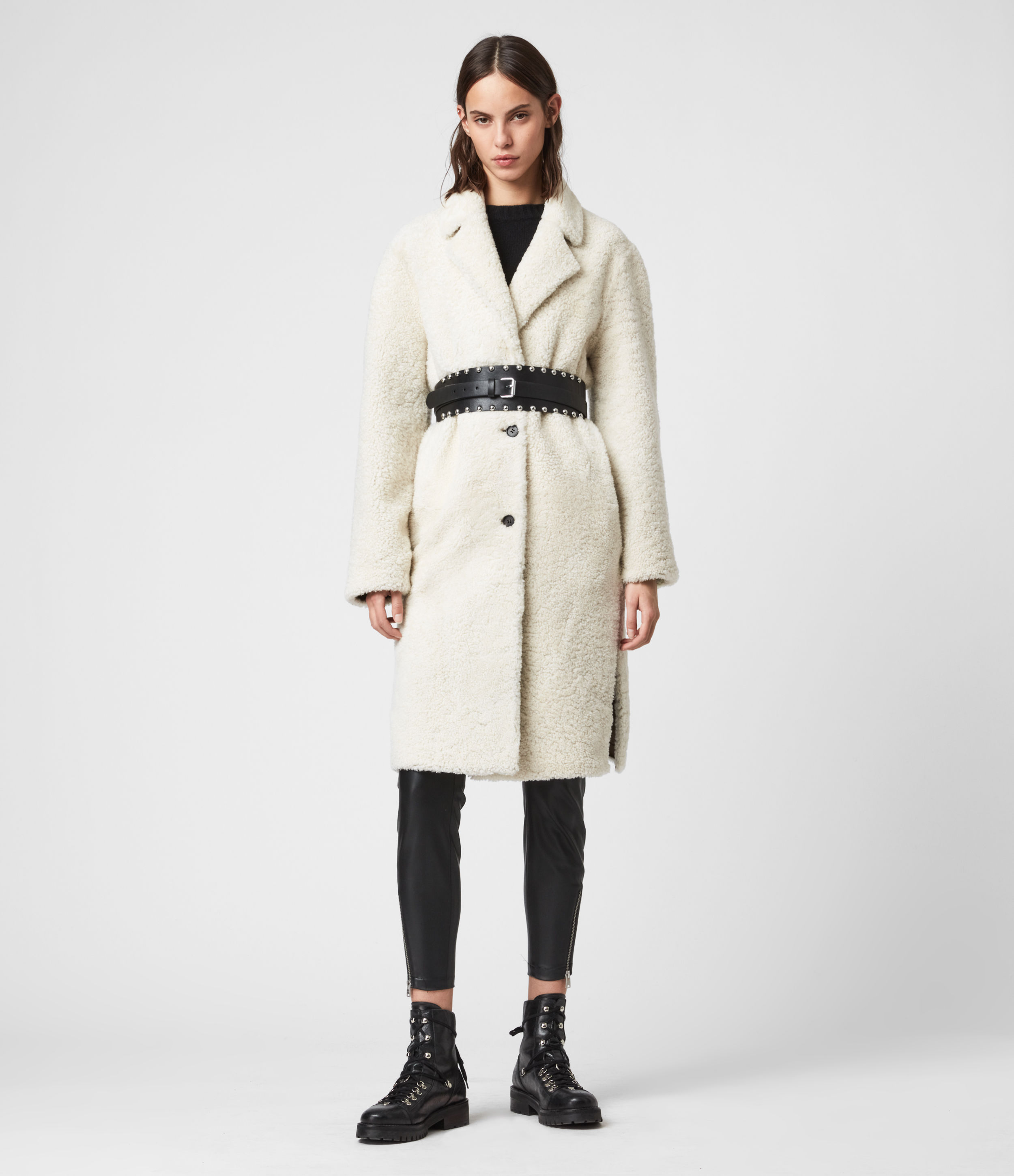 AllSaints Women's Sheepskin Dyed Tia Reversible Shearling Coat, White and Brown, Size: S