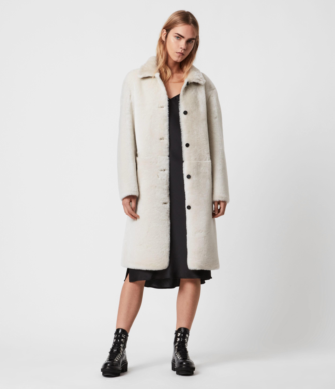 AllSaints Women's Serra Shearling Coat, Off White, Size: M