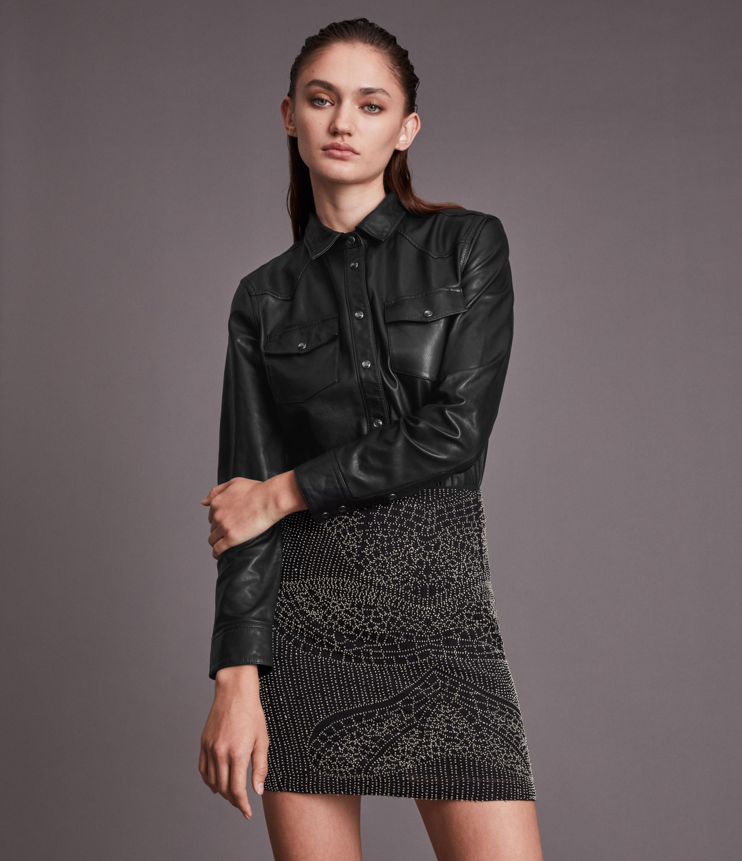 AllSaints Women's Stanway Leather Shirt, Black, Size: 14