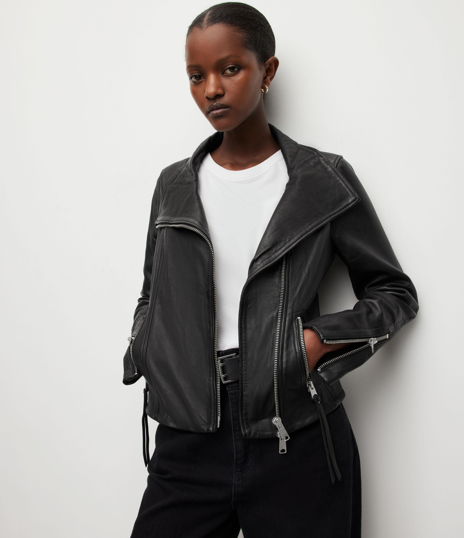 AllSaints Women's Leather Slim Fit Ellis Biker Jacket, Black, Size: 12