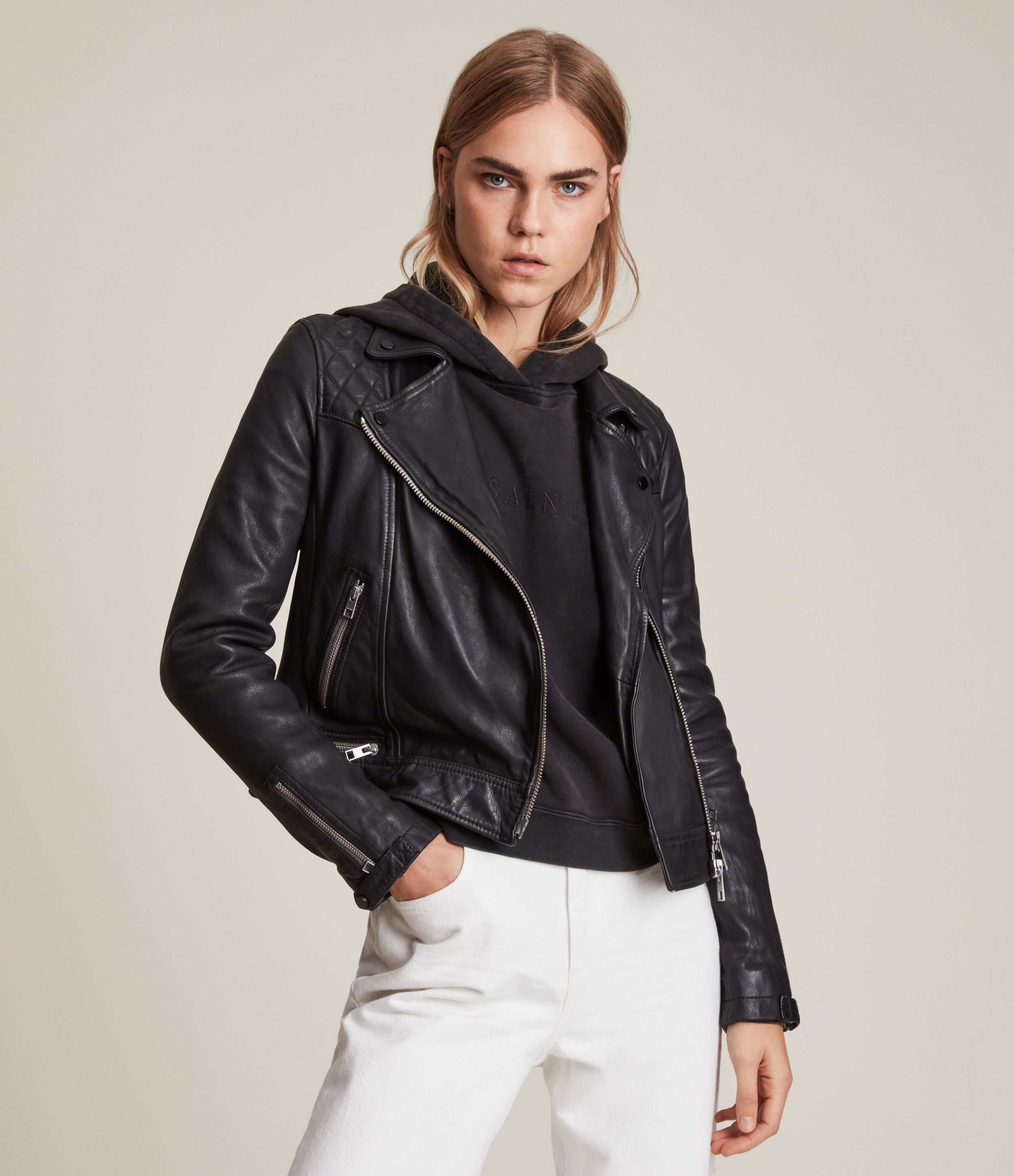 AllSaints Women's Leather Regular Fit Quilted Traditional Conroy Biker Jacket, Black, Size: 4