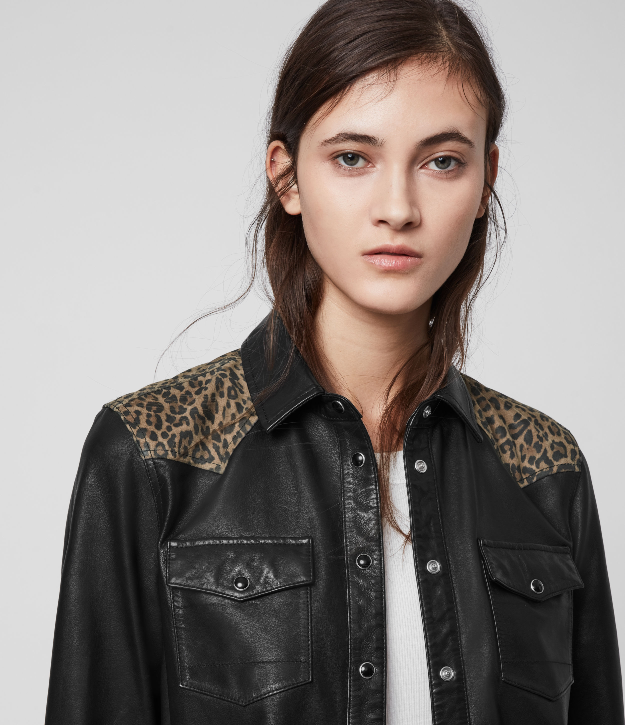 AllSaints Stanway Leo Leather Shirt