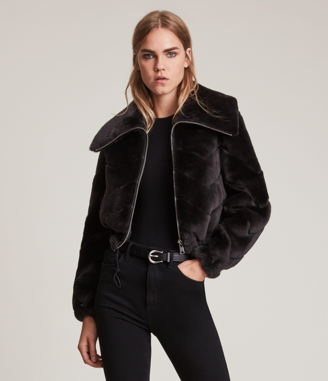 AllSaints Women's Adley Chevron Shearling Jacket, Black, Size: M