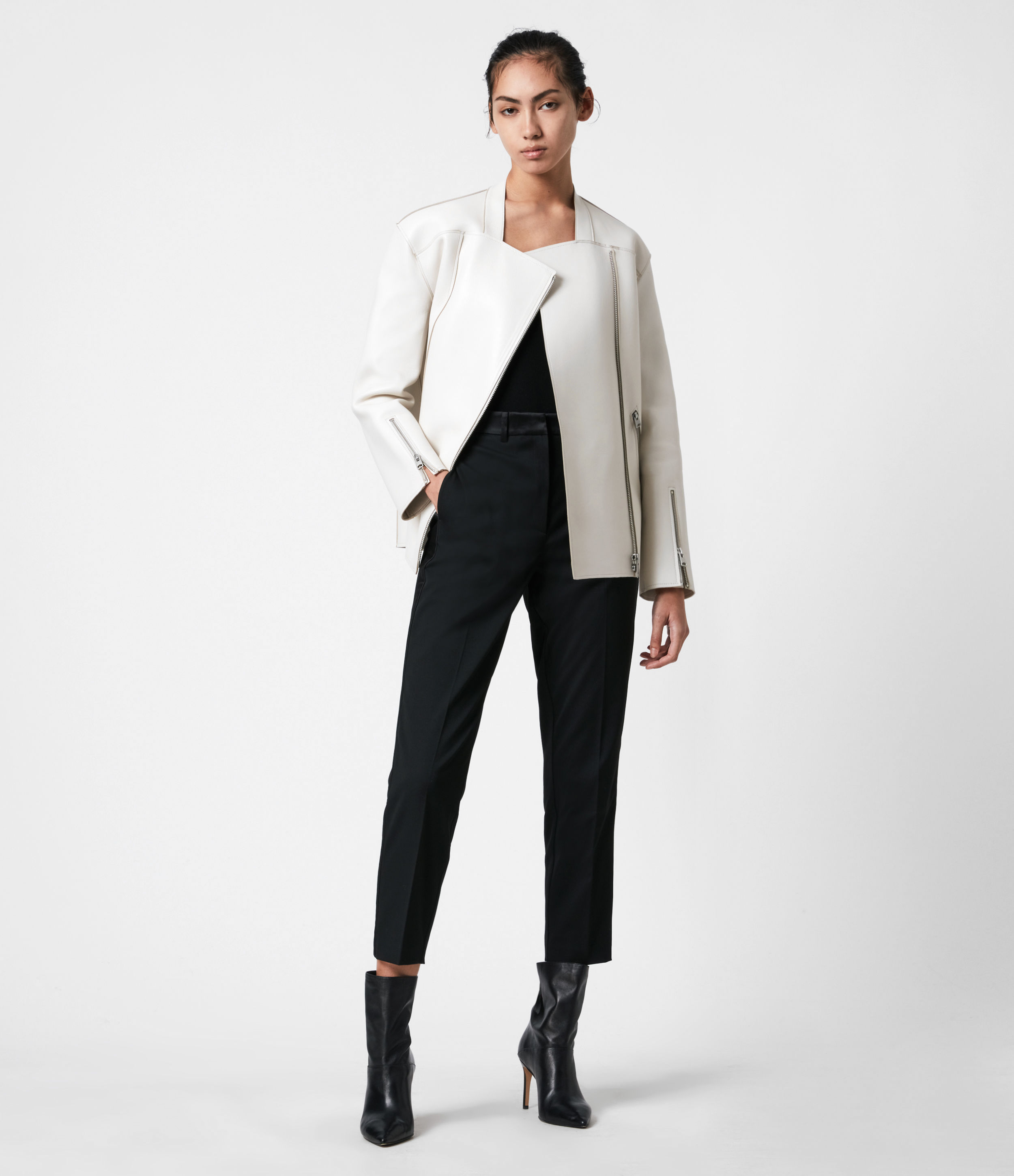 AllSaints Womens Abbey Leather Jacket, Off White, Size: 10