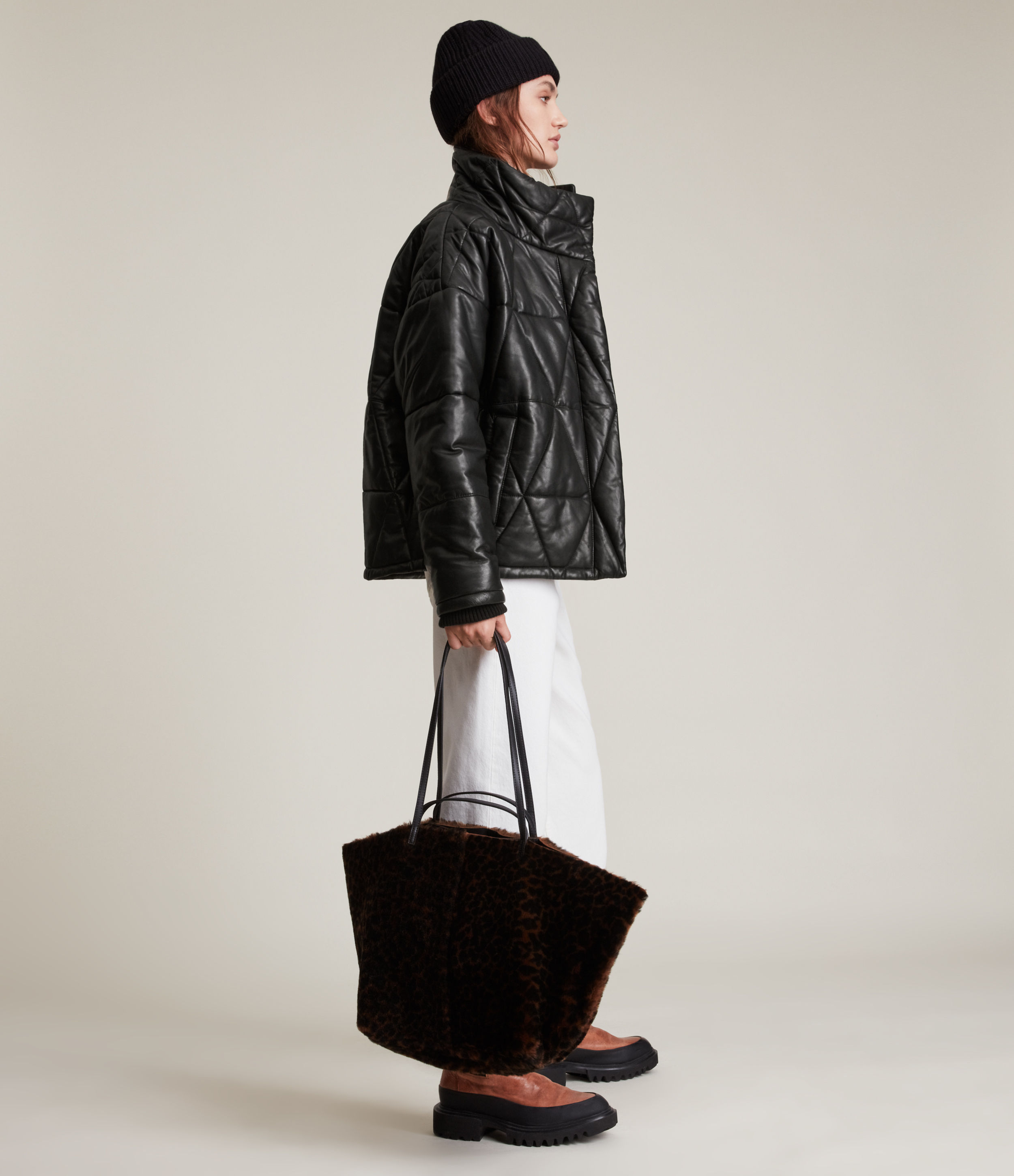 AllSaints Bon Leather Puffer Coat