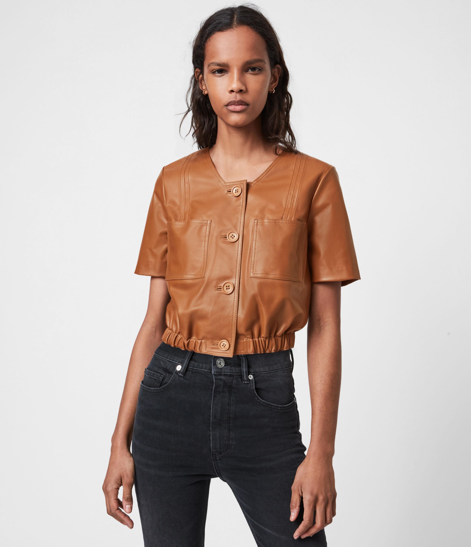 AllSaints Women's Lea Leather Top, Camel Brown, Size: 10