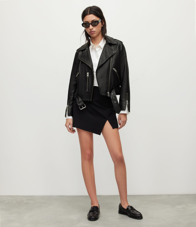 AllSaints Women's Leather Regular Fit Slim Balfern Biker Jacket, Black, Size: 6