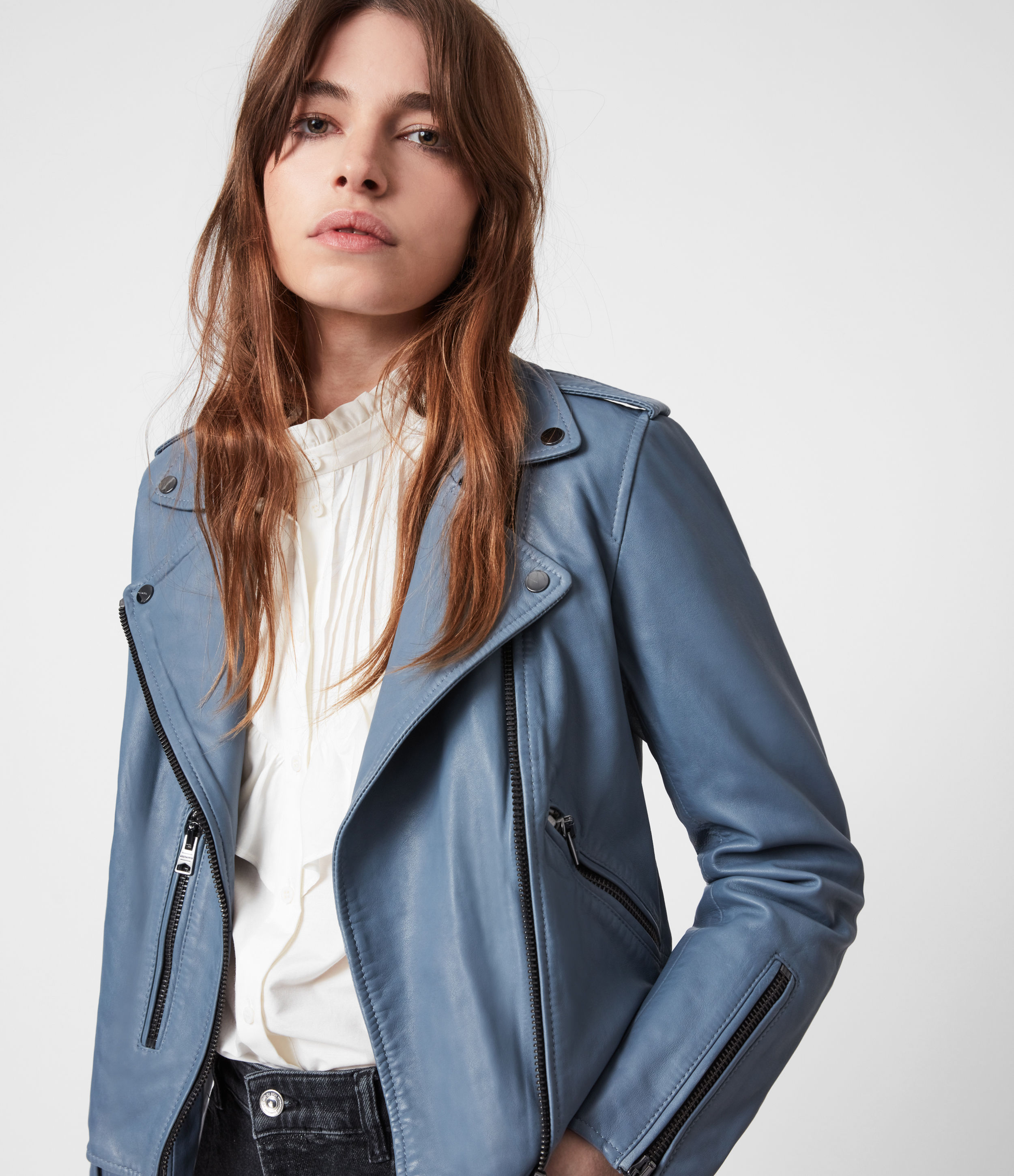 AllSaints Womens Fern Leather Biker Jacket, Flint Blue, Size: 6