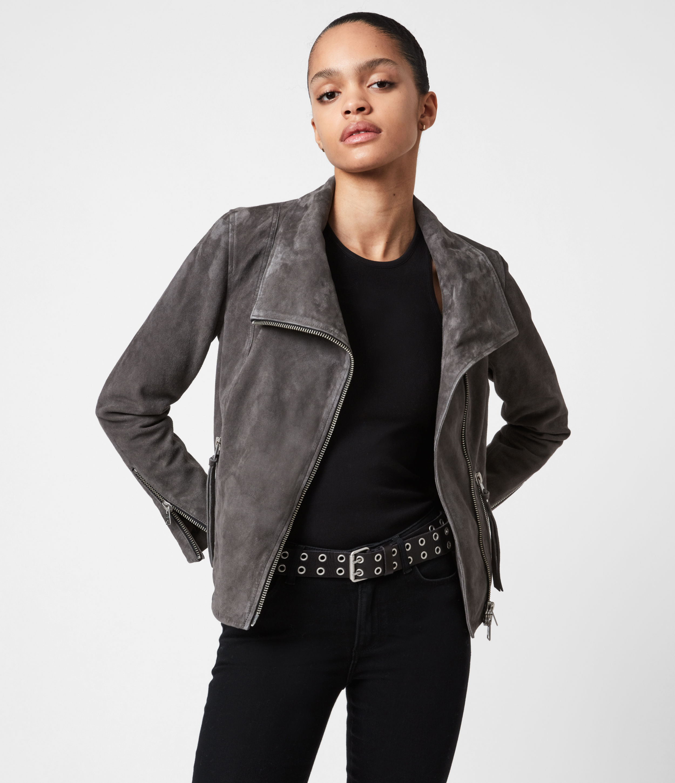 AllSaints Womens Ellis Suede Biker Jacket, Slate Grey, Size: 4