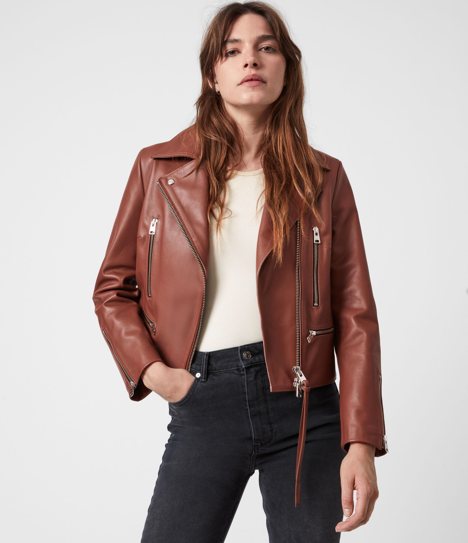 AllSaints Women's Wren Leather Biker Jacket, Tan Brown, Size: 2