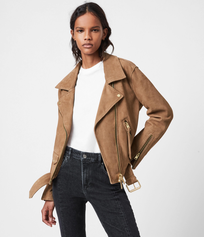 AllSaints Women's Luna Suede Biker Jacket, Tan Brown, Size: S
