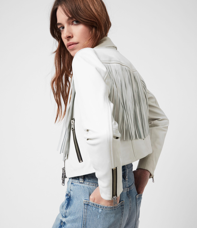 AllSaints Women's Elora Tassel Leather Biker Jacket, White, Size: 2