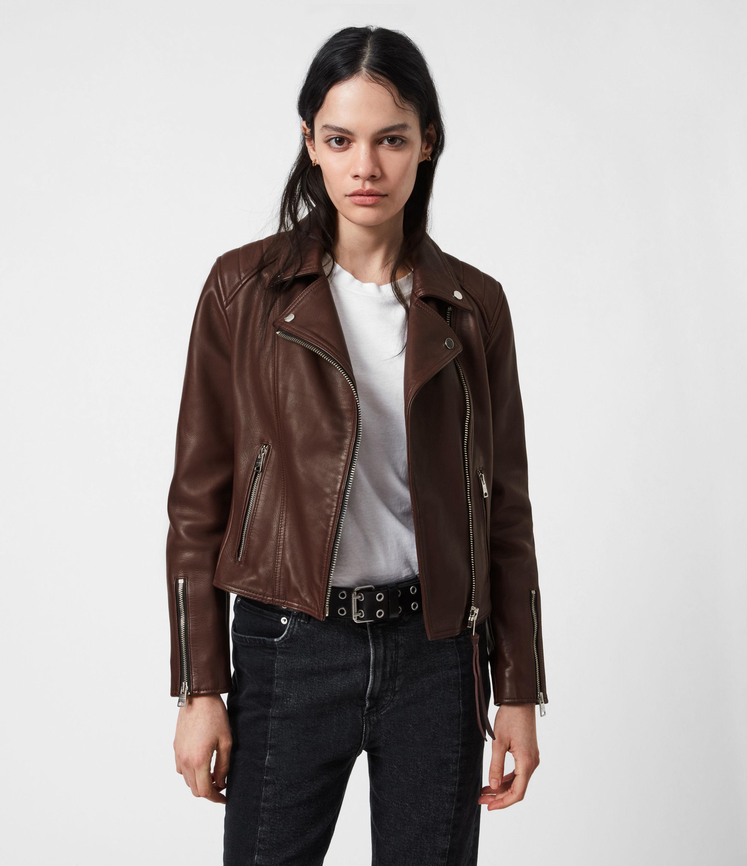 AllSaints Womens Neve Quilt Leather Biker Jacket, Bordeaux Red, Size: 8