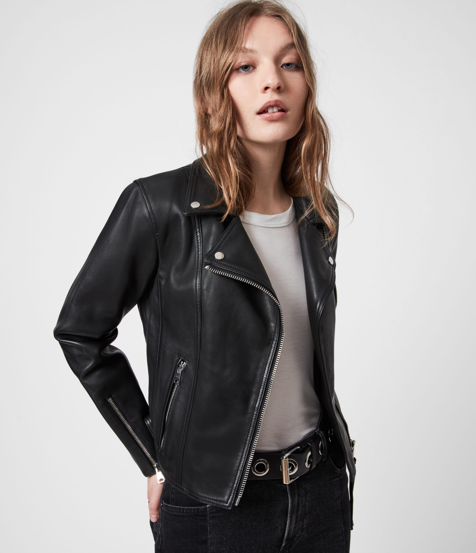 AllSaints Women's Neve Leather Biker Jacket, Black, Size: 12