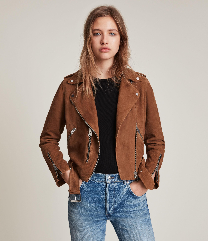 AllSaints Women's Balfern Suede Biker Jacket, Brown, Size: 14