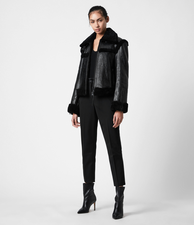 AllSaints Women's Kitt Shearling Jacket, Black, Size: XS