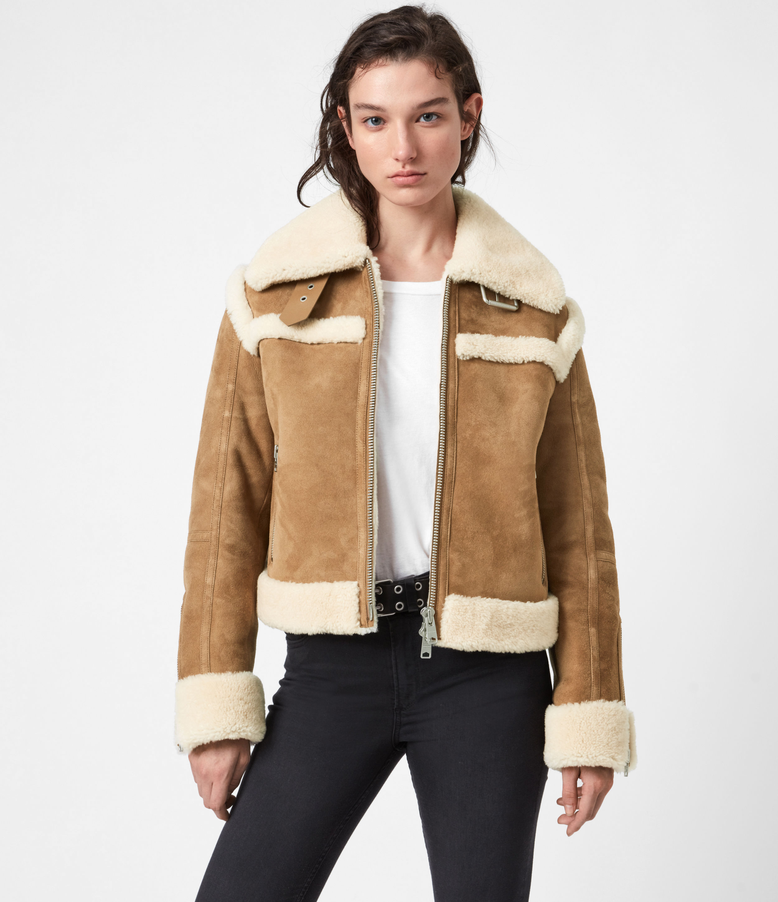 AllSaints Womens Kitt Shearling Jacket, Sand Brown/ecru, Size: S
