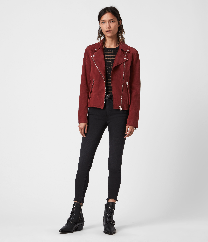 AllSaints Women's Leather Slim Fit Dalby Redge Suede Biker Jacket, Red, Size: 4