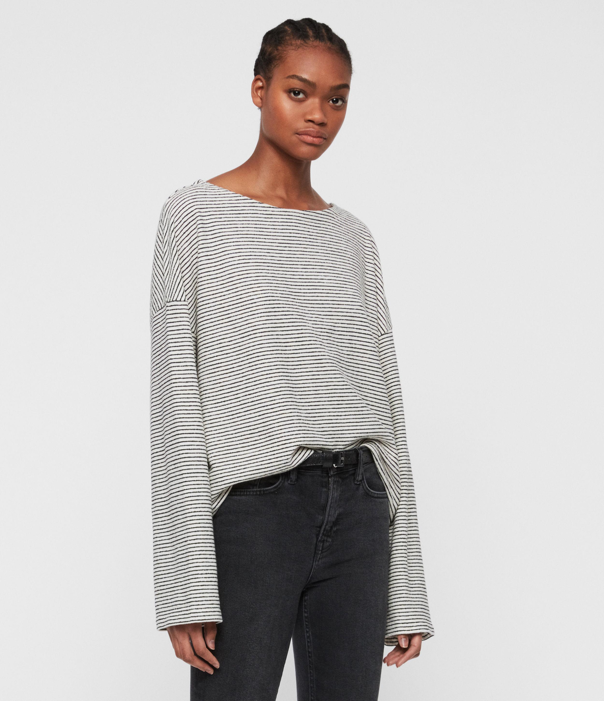 AllSaints Women's Adelise Stripe Top, White/Black, Size: M/L