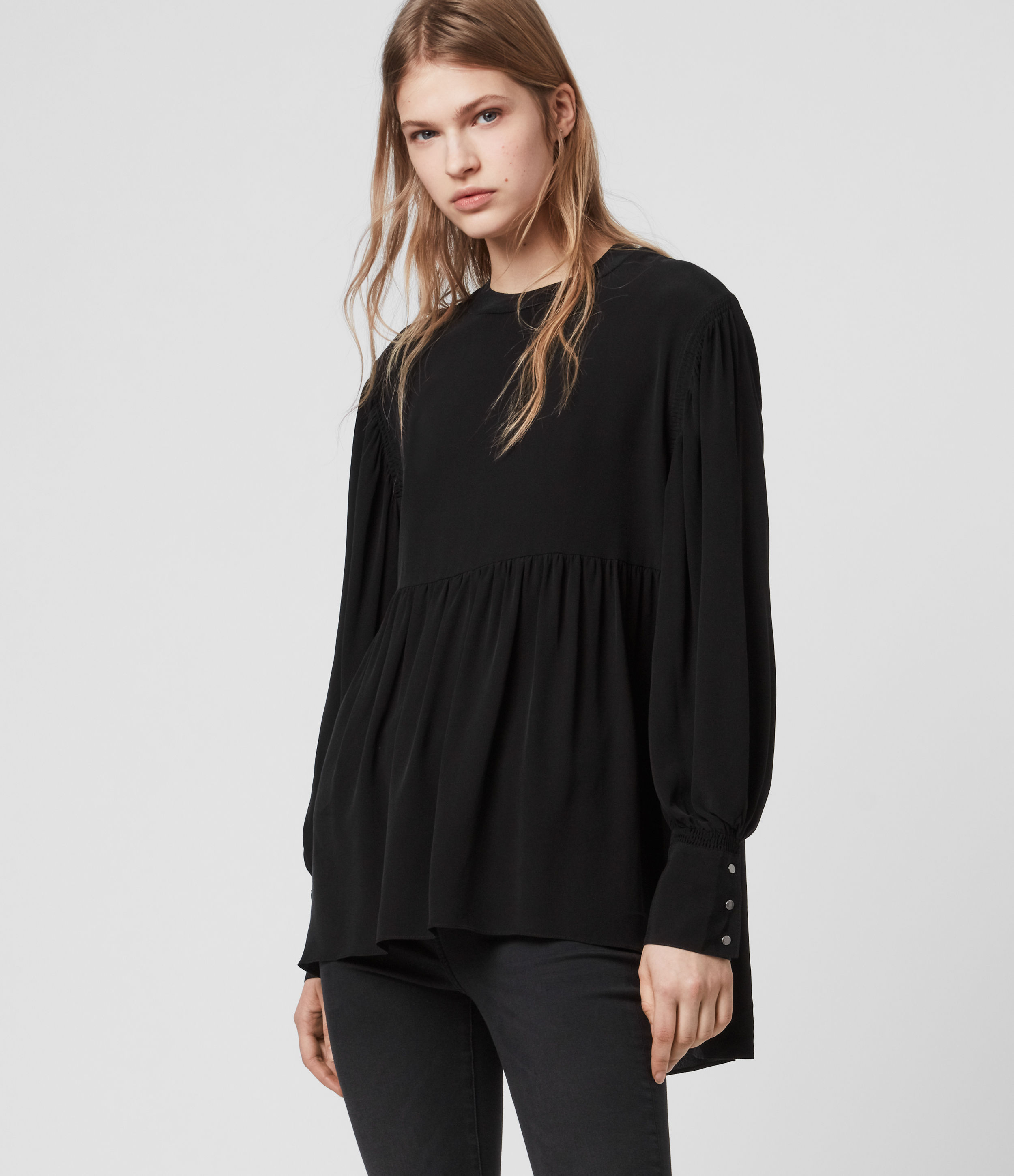 AllSaints Women's Relaxed Fit Fayre Top, Black, Size: XS