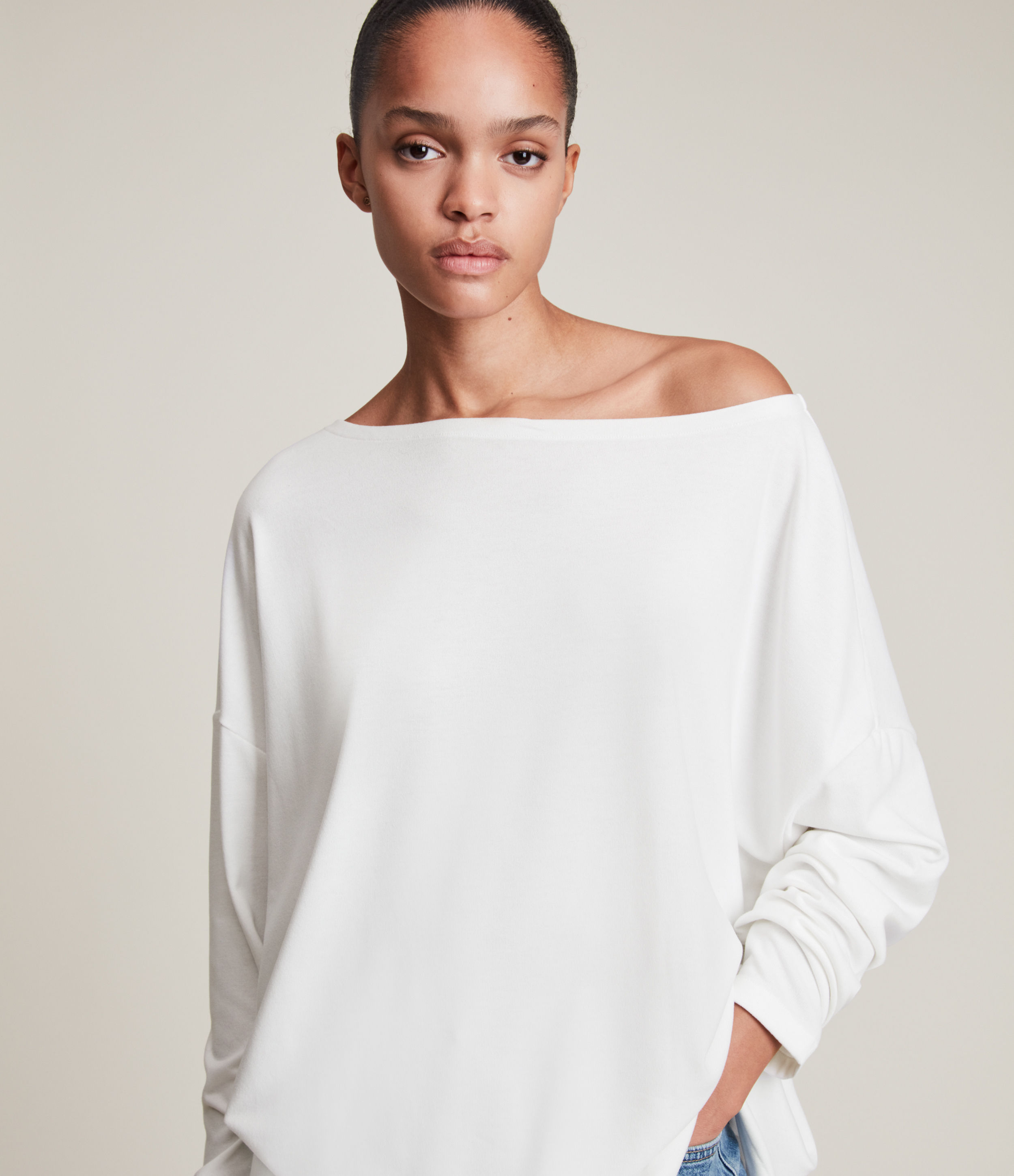 AllSaints Women's Rita Loose and Oversized Supersoft Long Sleeve Top, White, Size: S
