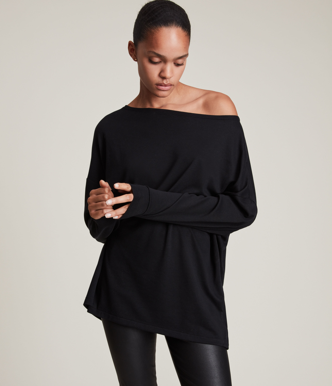 AllSaints Women's Rita Loose and Oversized T-Shirt, Black, Size: M
