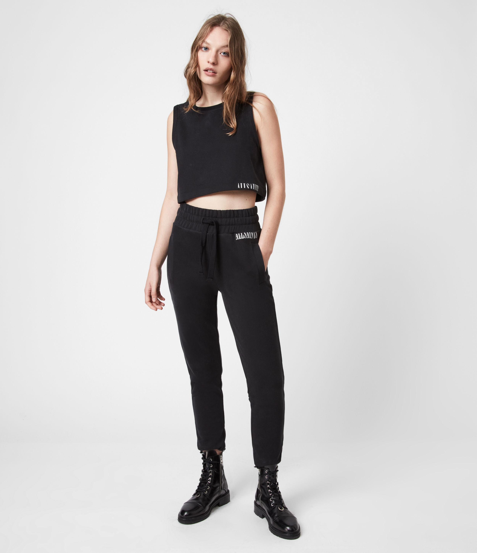 AllSaints Women's Lila Crop Sweat Top, Black, Size: 14