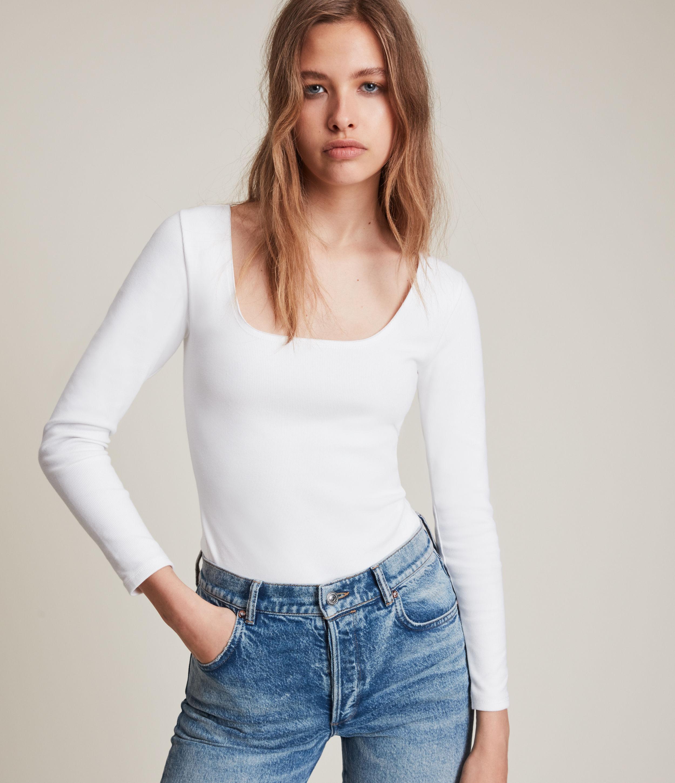 AllSaints Women's Jamie Long Sleeve Bodysuit, Optic White, Size: 8