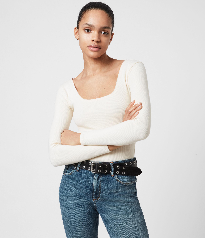 AllSaints Womens Jamie Long Sleeve Bodysuit, Linnet White, Size: 4