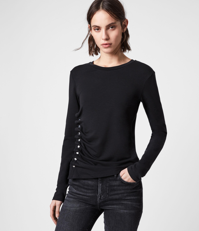 AllSaints Women's Hatti Long Sleeve T-Shirt, Black, Size: 6