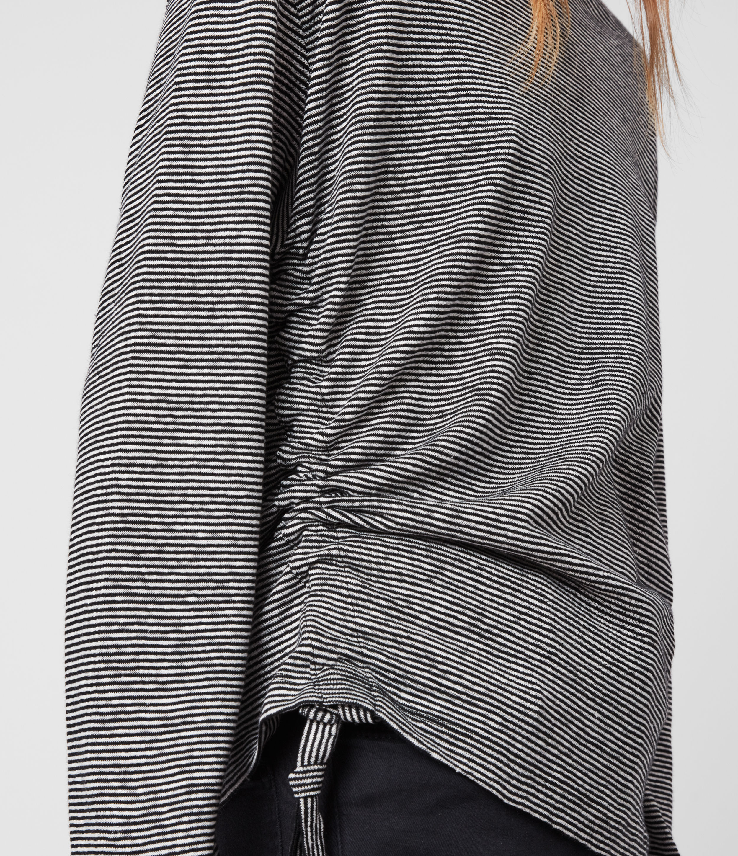 AllSaints Women's Cotton Stripe Relaxed Fit Ryder Lin Long Sleeve T-Shirt, Black and White, Size: XS