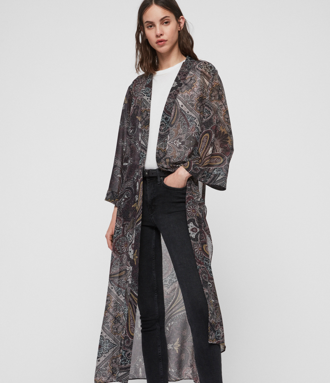 AllSaints Women's Graphic Print Regular Fit Carine Scarf Kimono, Purple, Size: S