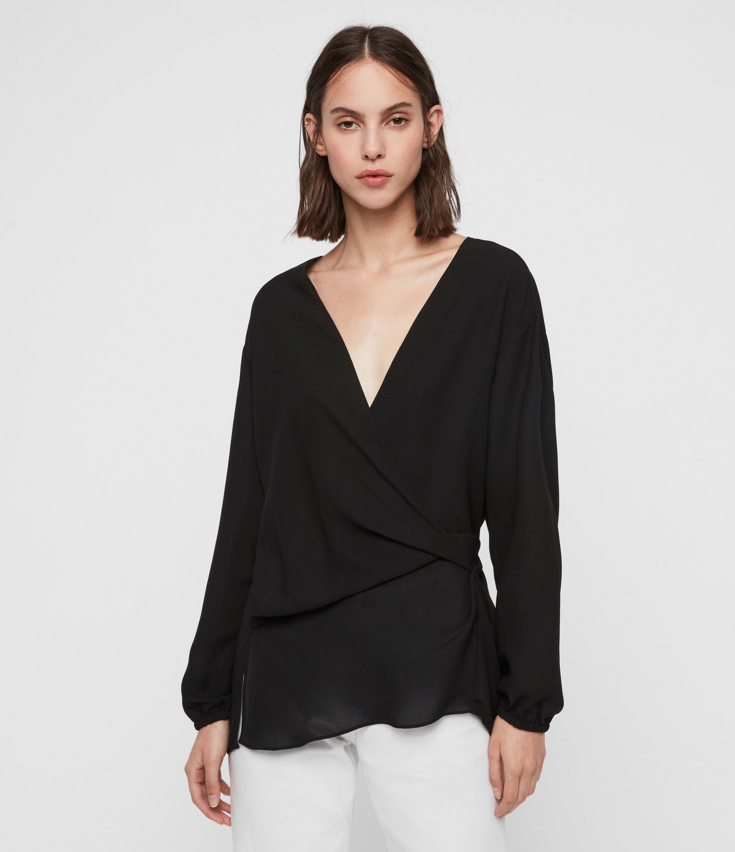 AllSaints Women's Regular Fit Mia Sleeve Top, Black, Size: M