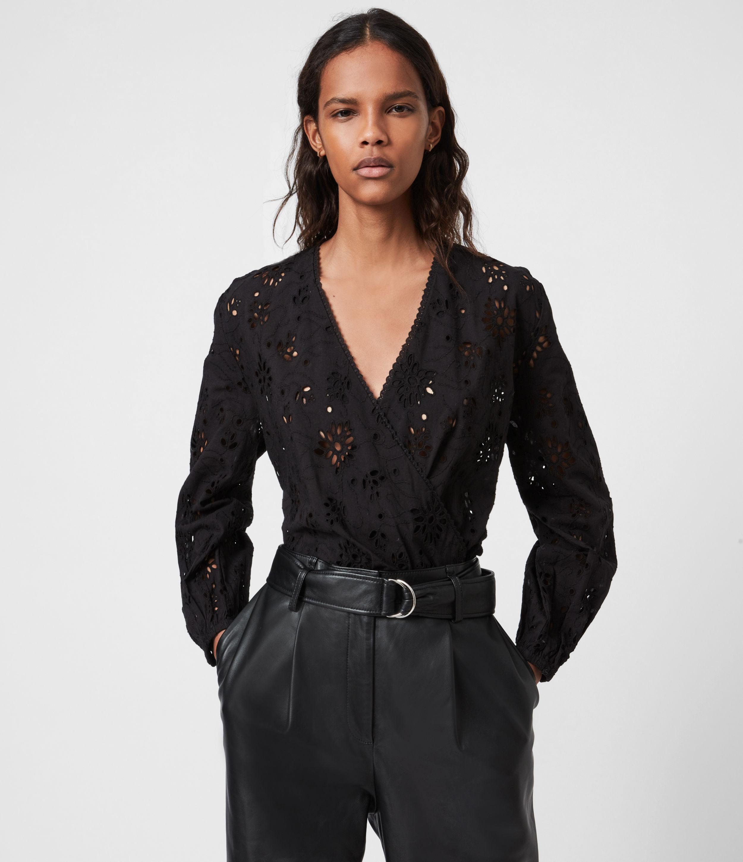 AllSaints Womens Amara Broderie Bodysuit, Black, Size: 14