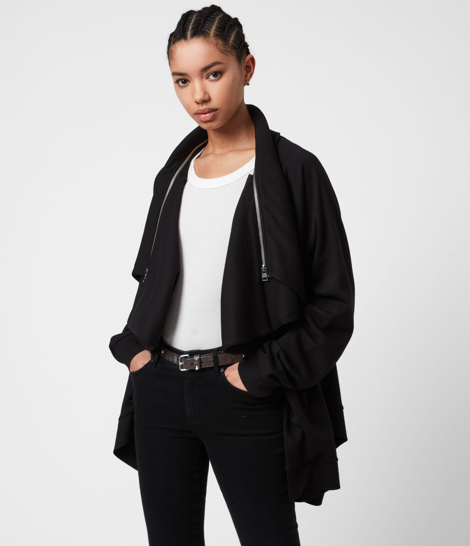 AllSaints Womens Callie Jersey Cardigan, Black, Size: 10