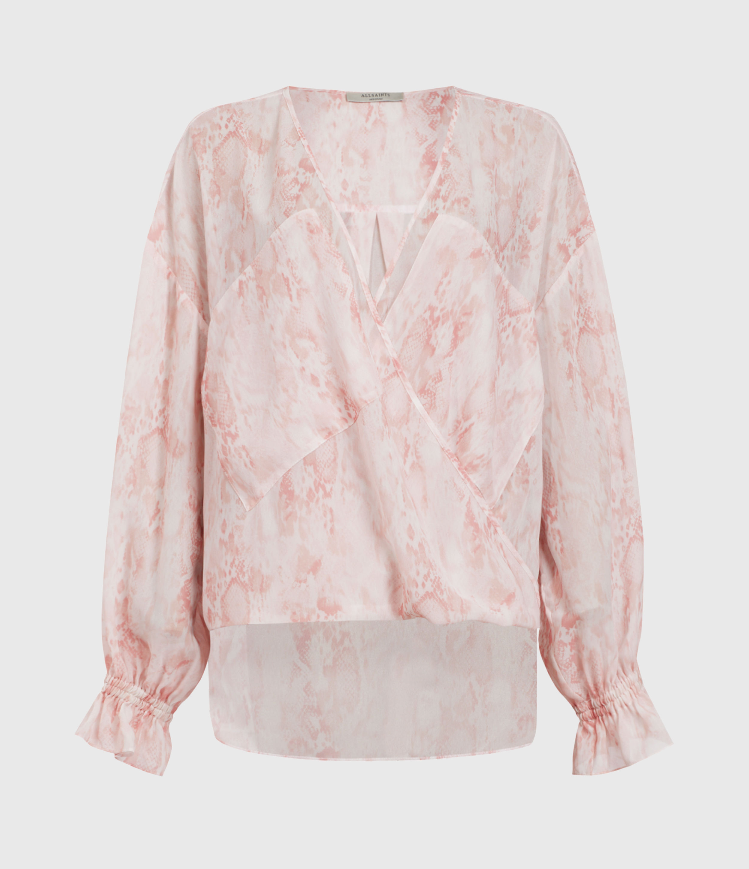 AllSaints Women's Snakeskin Print Relaxed Fit Penny Masala Top, Pink and White, Size: 10