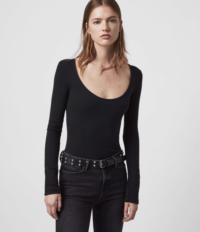 AllSaints Women's Cotton Lightweight Raffi Scoop Neck Bodysuit, Black, Size: S