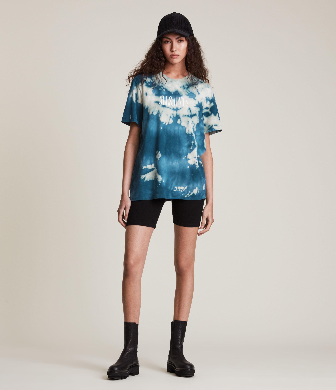 AllSaints Women's Stamp Tie Dye Boyfriend T-Shirt, Blue, Size: XS