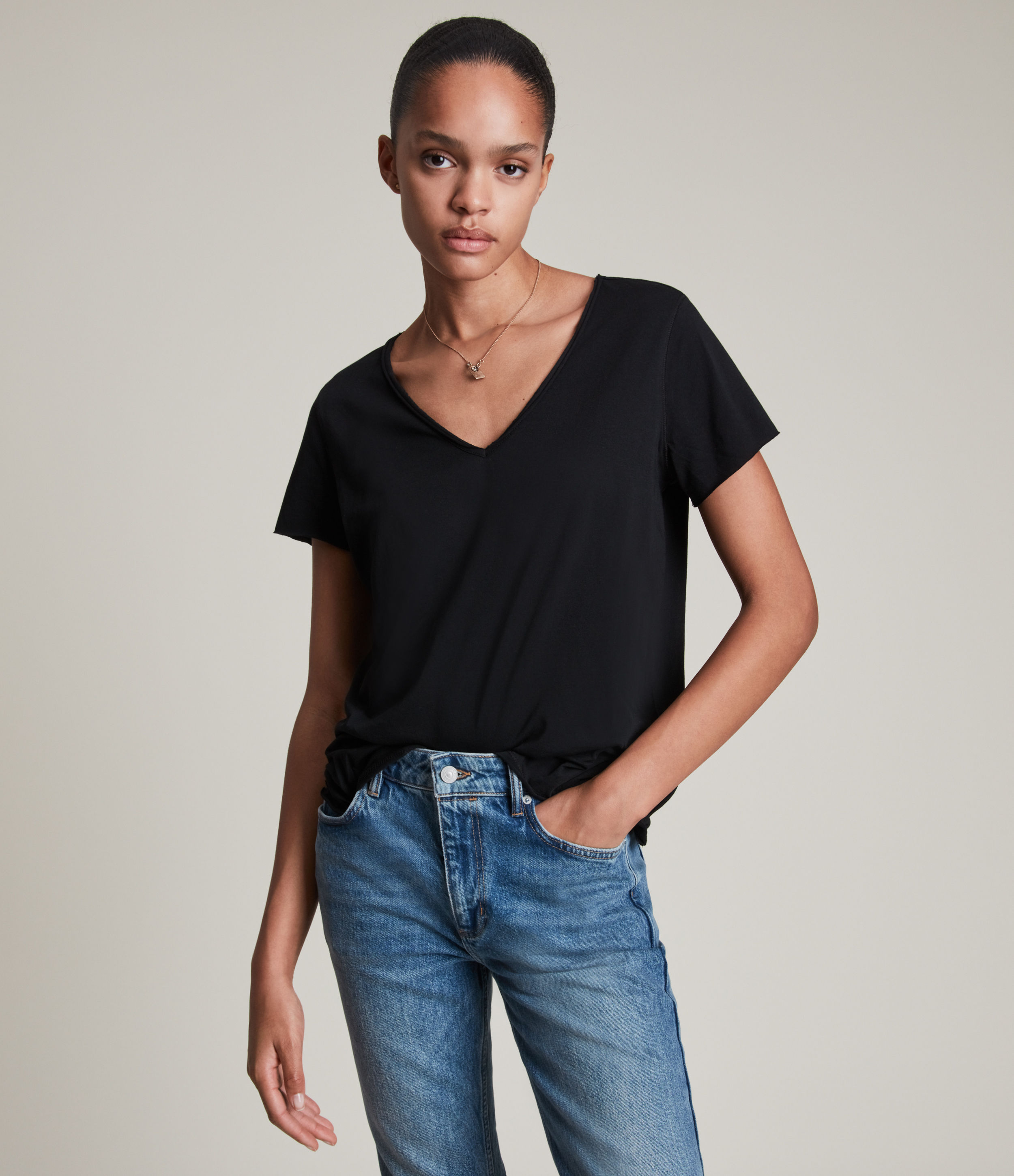 AllSaints Women's Regular Fit Cotton Emelyn Tonic Short Sleeve T-Shirt, Black, Size: XS