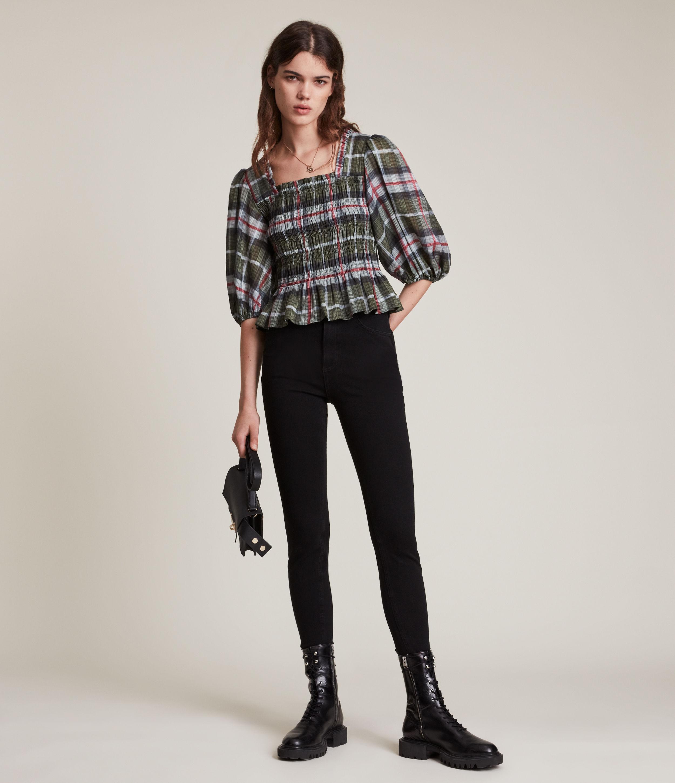 AllSaints Women's Lia Check Top, Khaki Green, Size: 10