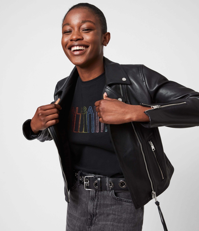 AllSaints Women's Pride Outline Anna T-Shirt, Black, Size: XS