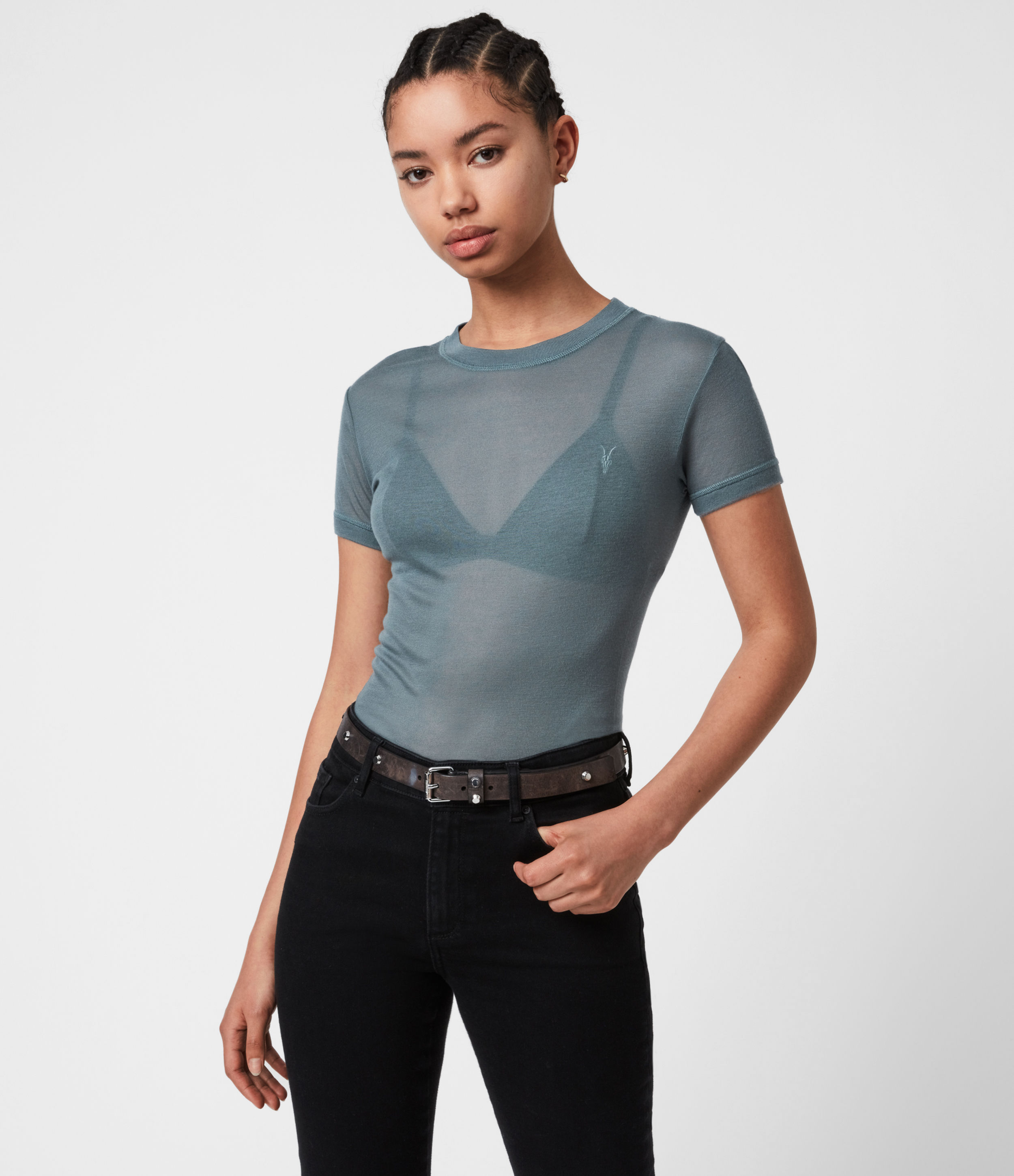 Allsaints Francesco Tee In Flint Blue