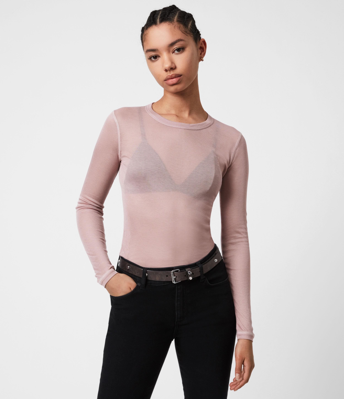 AllSaints Womens Francesco Long Sleeve Ramskull T-Shirt, Morning Mauve, Size: 6