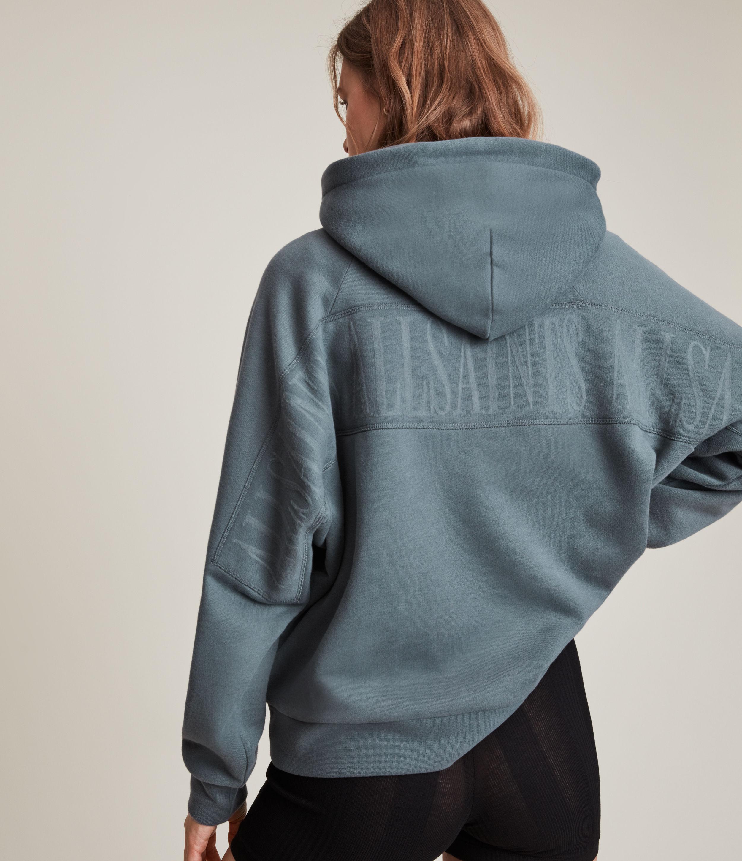 AllSaints Women's Cotton Logo Print Talon Hoodie, Blue, Size: M