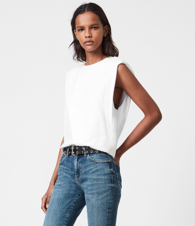 AllSaints Womens Coni Organic Cotton Tank, Optic White, Size: M