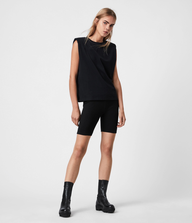 AllSaints Women's Coni Organic Cotton Tank, Black, Size: L