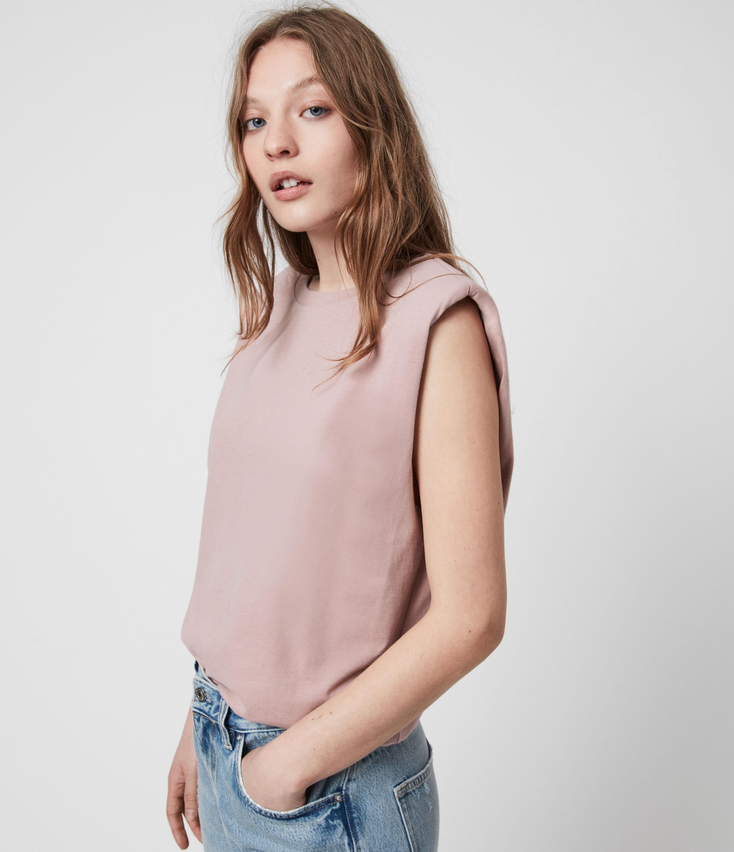 AllSaints Womens Coni Organic Cotton Tank, Morning Mauve, Size: S