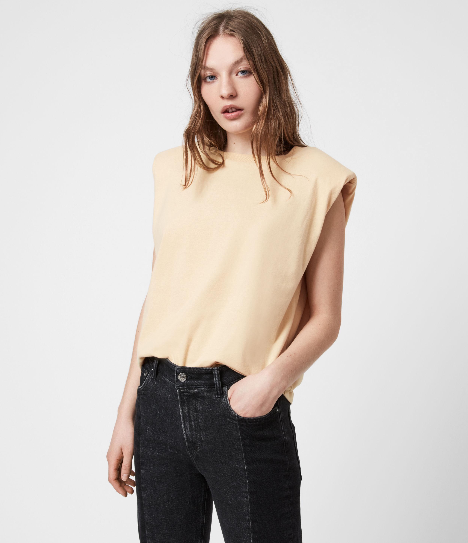 AllSaints Womens Coni Organic Cotton Tank, Ochre Yellow, Size: S