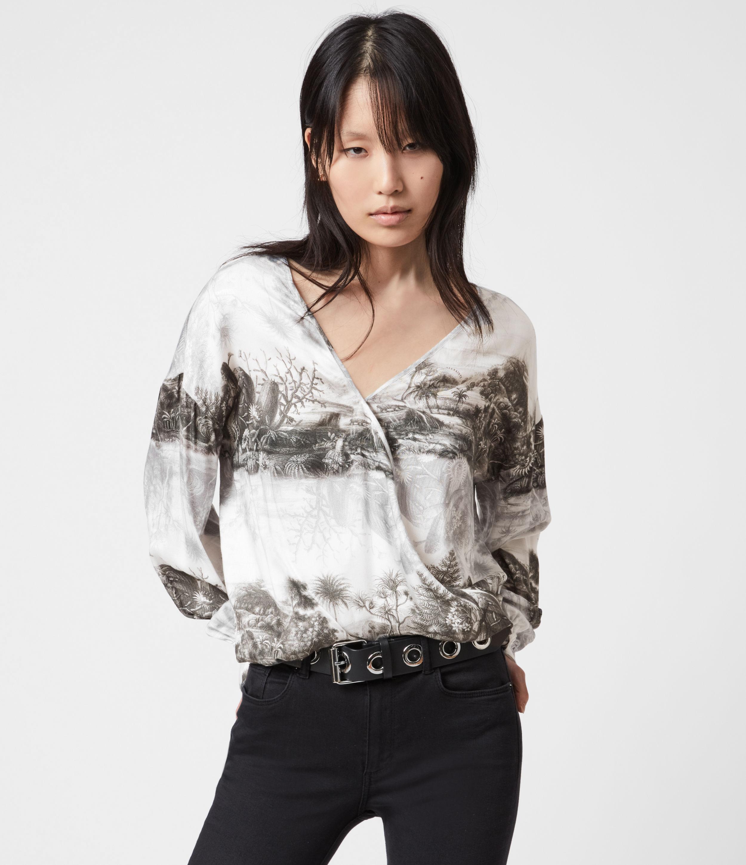 AllSaints Womens Penny Illusio Top, White, Size: 12