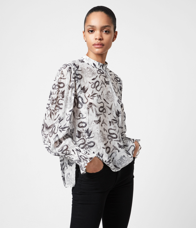 AllSaints Women's Jasmine Somnium Top, Chalk White, Size: 12